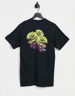 Черная футболка neu rose-Черный цвет HUF