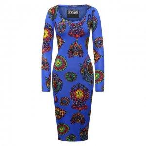 Платье из вискозы Versace Jeans Couture. Цвет: синий
