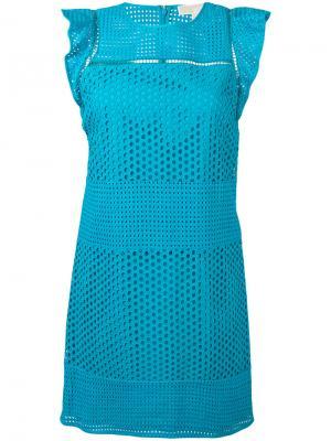Платье с вышивкой Michael Kors. Цвет: синий