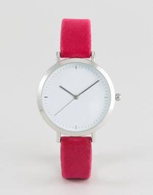 Розовые часы с бархатным ремешком ASOS DESIGN. Цвет: розовый