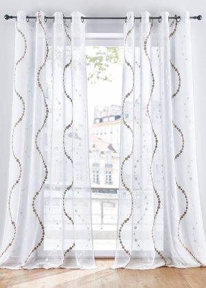 Гардина с вышивкой волнами (1 шт.) bonprix. Цвет: белый
