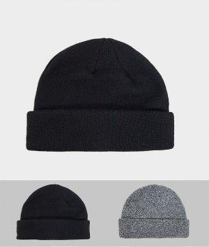 Набор из 2 шапок мини черного и меланжевого цвета -Мульти ASOS DESIGN