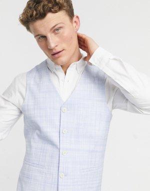 Нежно-голубой облегающий свадебный жилет со штрихованным узором -Бежевый ASOS DESIGN