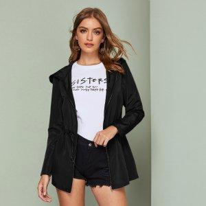 Куртка-ветровка на кулиске с капюшоном и молнией SHEIN. Цвет: чёрный