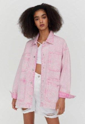 Куртка джинсовая Pull&Bear Join Life. Цвет: розовый
