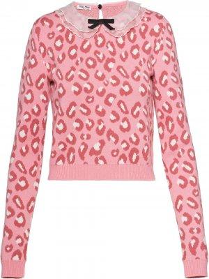 Джемпер с леопардовым принтом Miu. Цвет: розовый