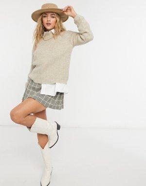 Бежевый свитер с высоким воротом -Коричневый Only