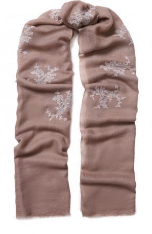 Кашемировый платок с кружевной отделкой Vintage Shades. Цвет: светло-коричневый