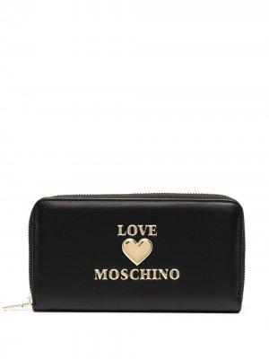 Кошелек с круговой молнией Love Moschino. Цвет: черный
