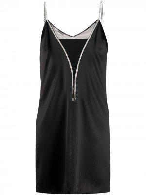 Платье-комбинация со стразами John Richmond. Цвет: черный