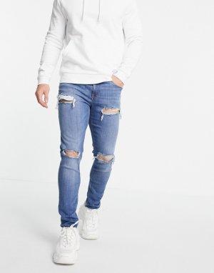 Выбеленные рваные джинсы скинни -Голубой ASOS DESIGN