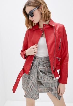 Куртка кожаная Macleria. Цвет: красный