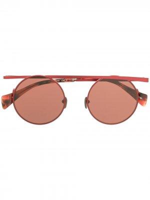 Солнцезащитные очки с верхней планкой Yohji Yamamoto. Цвет: красный