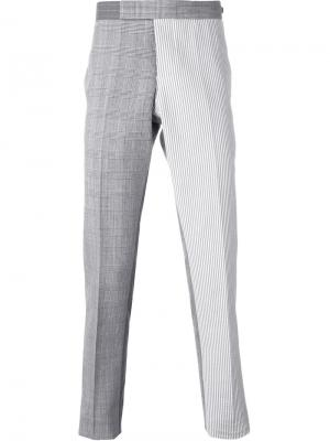 Классические брюки с панельным дизайном Thom Browne. Цвет: серый