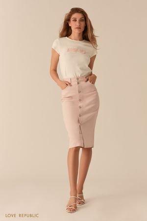 Джинсовая светло-розовая юбка миди с рядом пуговиц LOVE REPUBLIC