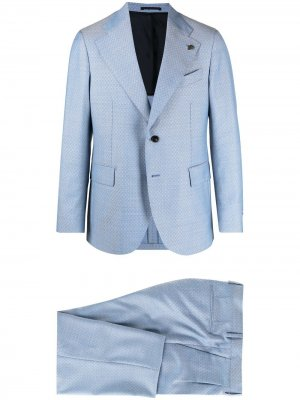 Костюм с однобортным пиджаком и геометричным принтом Gabriele Pasini. Цвет: синий