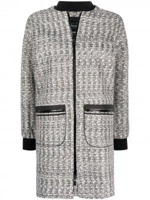 Твидовая куртка-бомбер средней длины Herno. Цвет: черный