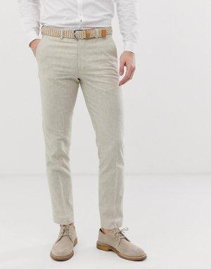 Бежевые льняные брюки классического кроя Premium-Белый Jack & Jones