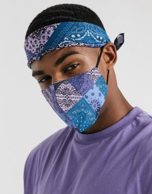 Комплект из маски для лица и банданы с принтом пейсли -Мульти ASOS DESIGN