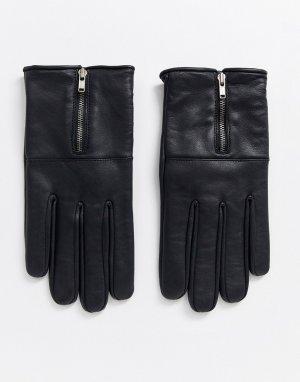 Кожаные перчатки с молниями -Черный Bolongaro Trevor