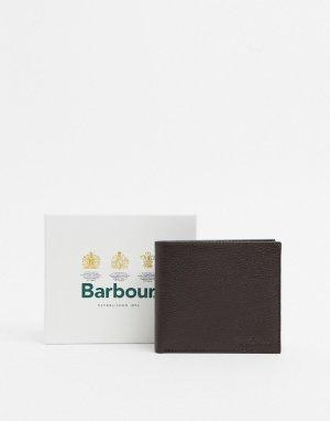 Темно-коричневый кожаный бумажник Barbour