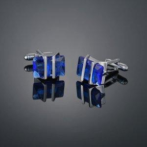 Мужские запонки с драгоценным камнем SHEIN. Цвет: синий