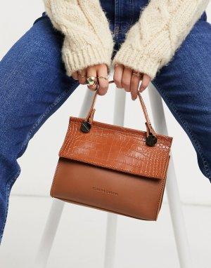 Светло-коричневая небольшая сумка-тоут с перфорированным клапаном -Коричневый цвет Claudia Canova