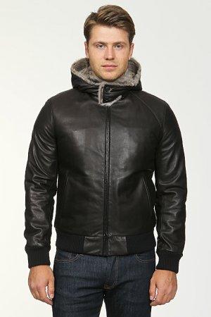 Куртка кожаная с капюшоном Seraphin. Цвет: черный