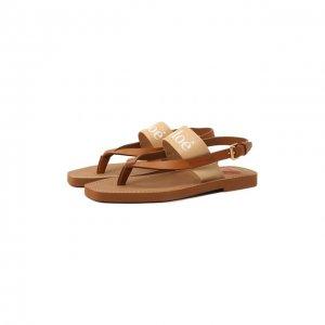Комбинированные сандалии Woody Chloé. Цвет: бежевый