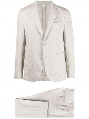 Костюм с однобортным пиджаком Manuel Ritz. Цвет: нейтральные цвета
