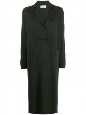 Длинное пальто-кардиган Allude. Цвет: зеленый