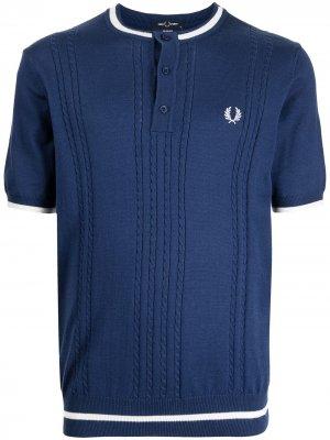 Трикотажная рубашка хенли FRED PERRY. Цвет: синий
