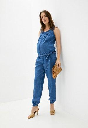 Комбинезон джинсовый Mams Mam's. Цвет: синий