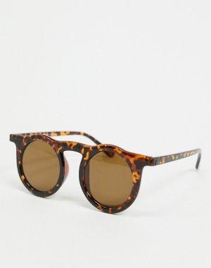 Круглые черепаховые солнцезащитные очки -Коричневый AJ Morgan