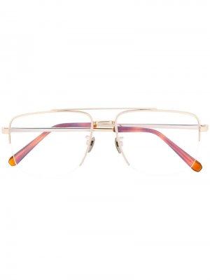 Классические очки в квадратной оправе Brioni. Цвет: золотистый