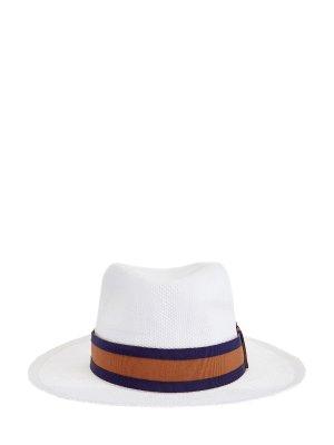 Плетеная шляпа-трилби с лентой грогрен ELEVENTY. Цвет: белый