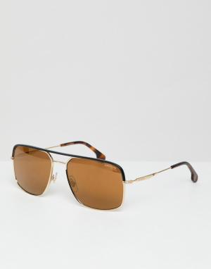 Солнцезащитные очки-авиаторы в золотистой оправе с черепаховой отделкой -Золотой Carrera