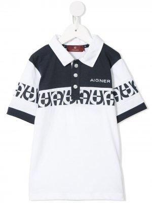 Рубашка-поло с вышитым логотипом Aigner Kids. Цвет: белый