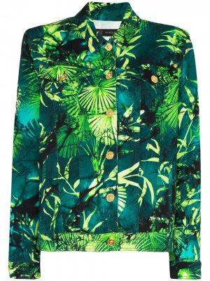 Джинсовая куртка с принтом Palm Versace. Цвет: зеленый