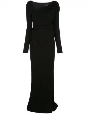 Длинное платье асимметричного кроя с драпировкой Badgley Mischka. Цвет: черный