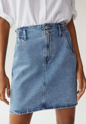 Юбка джинсовая Mango - PAPERBAG. Цвет: синий