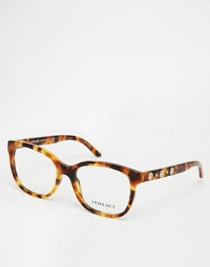 Очки в D-образной оправе Versace. Цвет: черепаховый