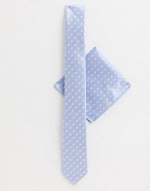 Галстук и платок для пиджака в горошек -Голубой Harry Brown