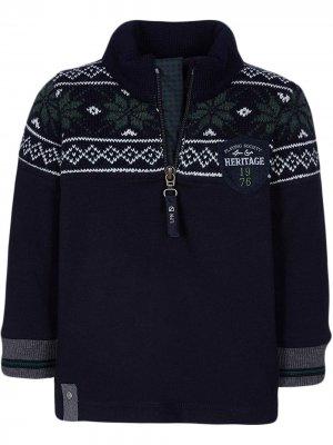 Пуловер с орнаментом Lapin House. Цвет: синий
