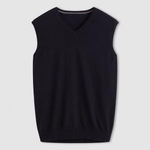 Пуловер с V-образным вырезом, без рукавов R essentiel. Цвет: серый меланж