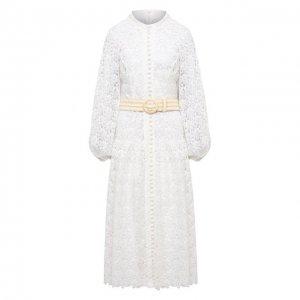 Платье-миди Zimmermann. Цвет: белый