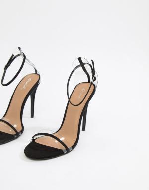 Легкие сандалии с прозрачными ремешками Qupid. Цвет: черный