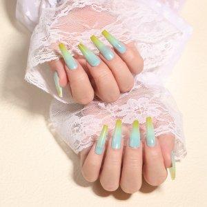 24шт Накладные ногти с узором омбре & 1шт пилочка для ногтей 1 лист лента SHEIN. Цвет: горчично-желтый