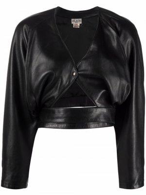 Укороченная кожаная куртка 1980-х годов с поясом Alaïa Pre-Owned. Цвет: черный