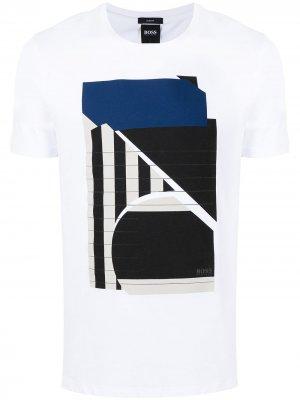 Graphic-print short-sleeved T-shirt BOSS. Цвет: белый